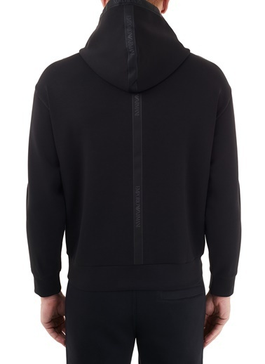Emporio Armani  Logo Bantlı Kapüşonlu Pamuklu Sweat Erkek Sweat S 6H1M82 1Jhsz 0999 Siyah
